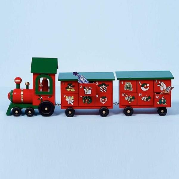 Wooden Christmas Advent Calendar Train Decoration 45cm Long Premier