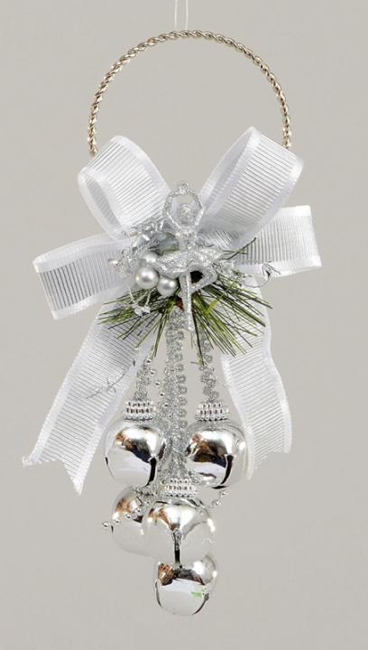 Hanging Christmas Decorations.Door Knob Hanging Christmas Decoration Bells Ribbon 17cm Silver
